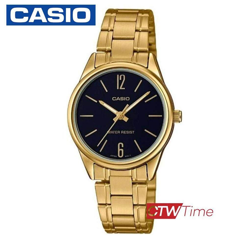 Casio Standard นาฬิกาข้อมือผู้หญิง สแตนเลสแท้ รุ่น LTP-V005G-1BUDF (สีทอง/หน้าดำ)
