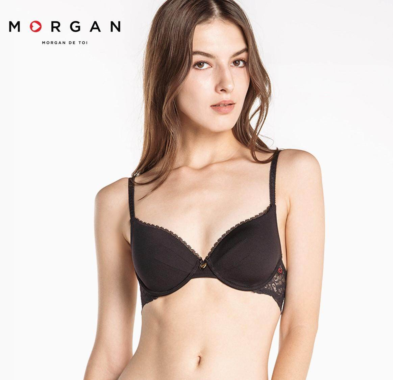 Morgan bra บราชุดชั้นใน เสื้อชั้นใน ลายลูกไม้ กระชับ ทรงสวย รุ่น lyn  (3/4) สีดำ