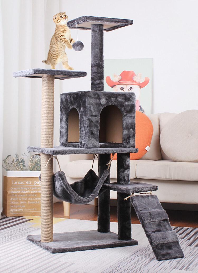 [พร้อมส่ง] คอนโดแมว พร้อมเปล ของเล่น และที่ลับเล็บแมวในตัว คอนโดแมวกำมะหยี่ ที่ข่วนเล็บแมว M102
