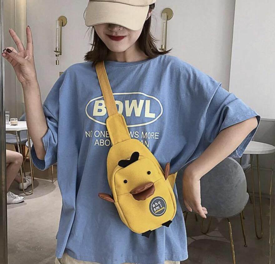 กระเป๋าเป้ นักเรียน ผู้หญิง วัยรุ่น สิงห์บุรี พร้อมส่งกระเป๋าคาดดอก bag