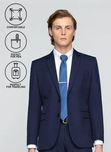ลองใช้ยัง GQWhite ตราด GQSize เสื้อสูท - GQ  Suit  Long Sleeve Single Breasted TR Fabric Solid  140-111297  Navy