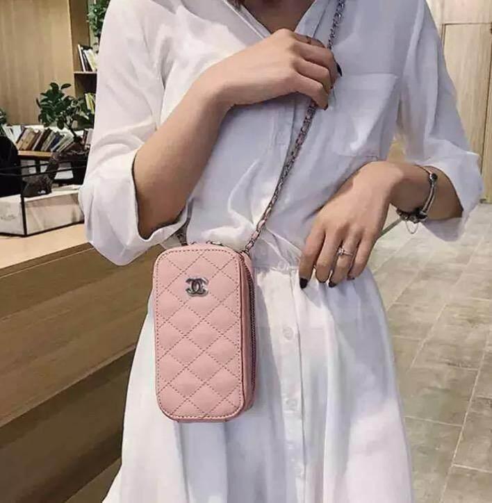 กระเป๋าถือ นักเรียน ผู้หญิง วัยรุ่น พัทลุง Fashion Zipper Closure PU Leather Grain Pattern Square Messenger Bag Chain Strap Bag