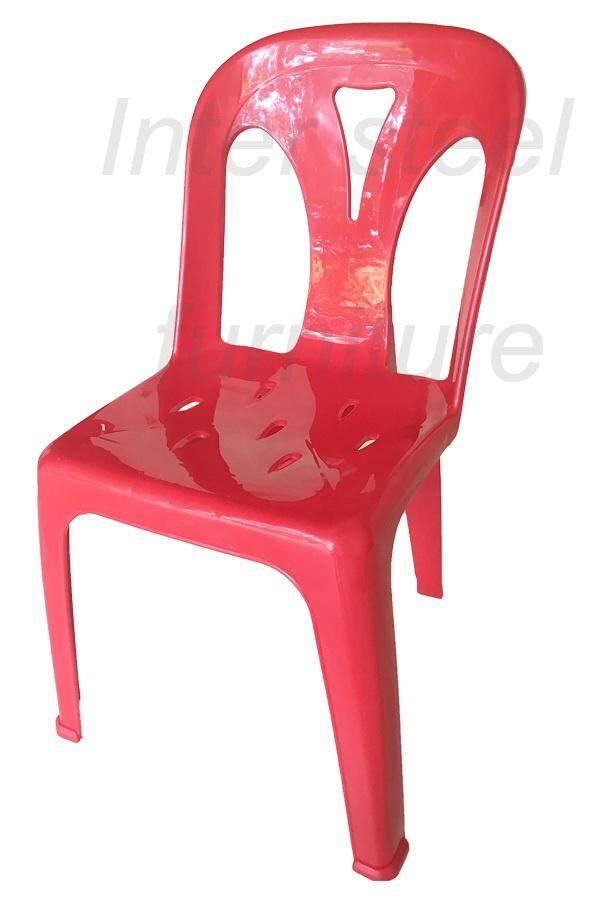 Inter Steel เก้าอี้พลาสติก เกรดA มีพนักพิง รุ่นหลังY - สีแดงสด Plastic chair  Grade A  with backrest  Y-Red