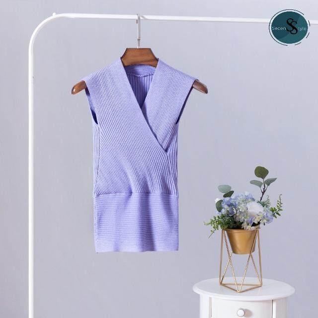 ลดสุดๆ SECEN  STYLE - เสื้อแขนกุด คอวี ผ้าไหมญี่ปุ่น สีพื้น แฟชั่น  มีเก็บเงินปลายทาง ส่งด่วน kerry (รุ่นTW-040)   --พร้อมส่ง--