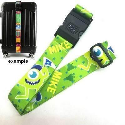 ส่งฟรี kerry !!! ขาย Luggage Belt สายรัดกระเป๋าเดินทาง สายคาด สายล็อค มีรหัสล็อคบนสาย มอนสเตอร์ อิงค์ Monsters Inc. สีเขียว