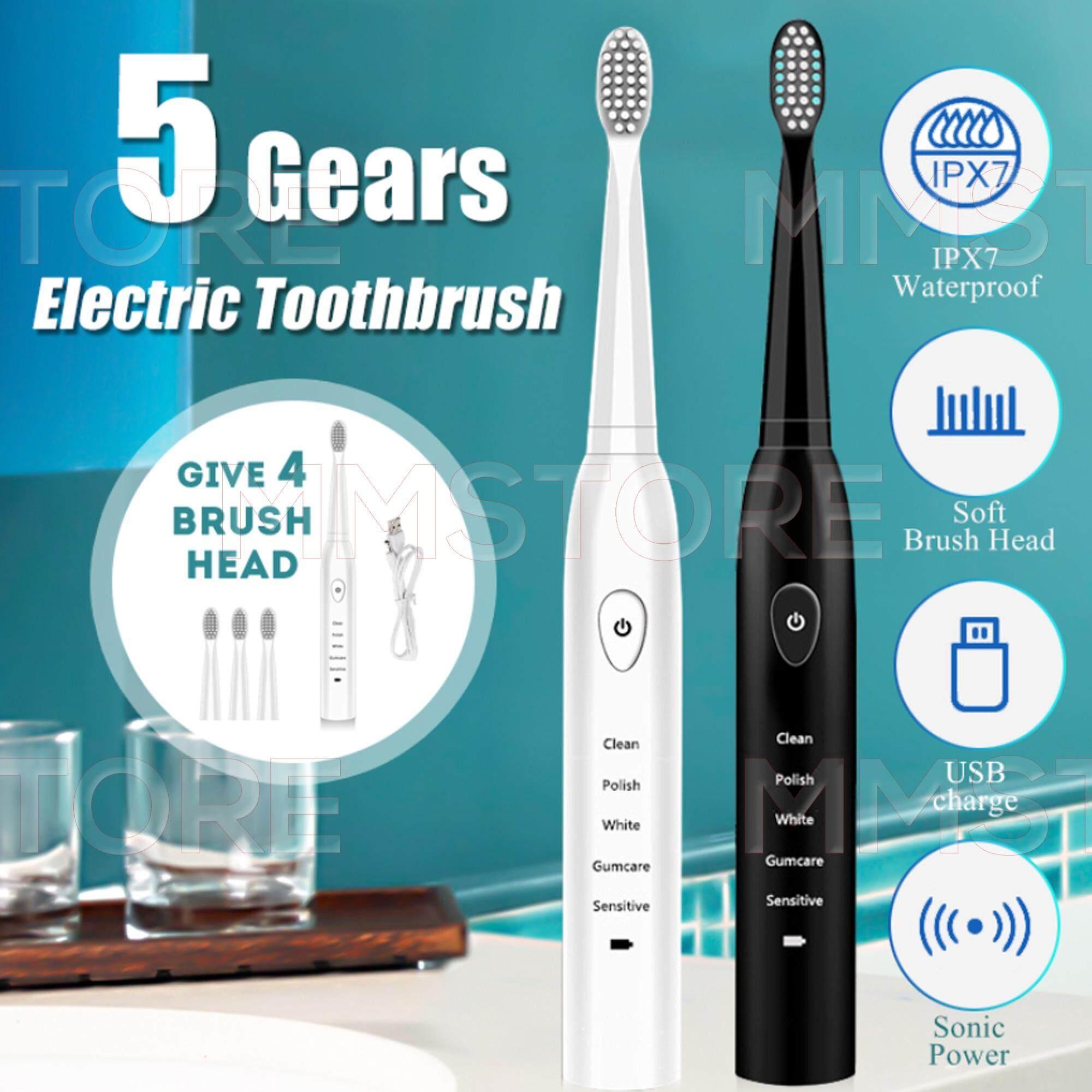 แปรงสีฟันไฟฟ้าเพื่อรอยยิ้มขาวสดใส อ่างทอง ETB5 แปรงสีฟันไฟฟ้า 5 เกียร์ ฟรี 4 หัวแปลง ขนแปรงนุ่ม ยืดหยุ่น กันน้ำได้ 100   พกพาสะดวก วัสดุ ฟู้ดเกรด ปลอดภัย ชาร์จได้ทุกที่มี USB น้ำหนักเบา ดีไซน์ทันสมัย เสียงเงียบ 5 Gears Electric Toothbrush Food Grade แปรง รอยลึก ทำความสะอาดคราบฟันครบ