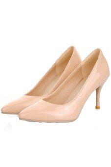 ENMAYER Pointed Toe High Heels Shoes (Beige)