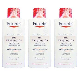 Eucerin Sensitive Skin pH5 Washlotion For Body and Face 400 ml (3 ขวด)