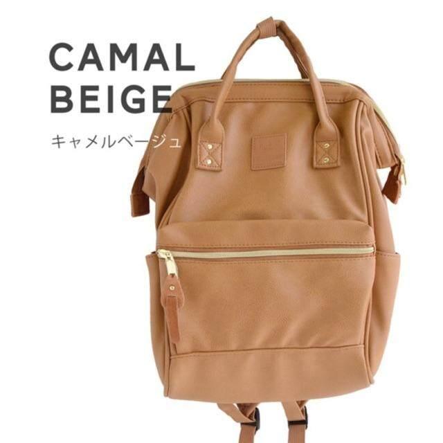 สอนใช้งาน  นครพนม anello PU Leather  ของแท้  กระเป๋าเป้รุ่นหนังนิ่ม- สีคาเมลเบจ ไซส์มินิ (กว้าง 23x สูง 36x หนา 17 cm )