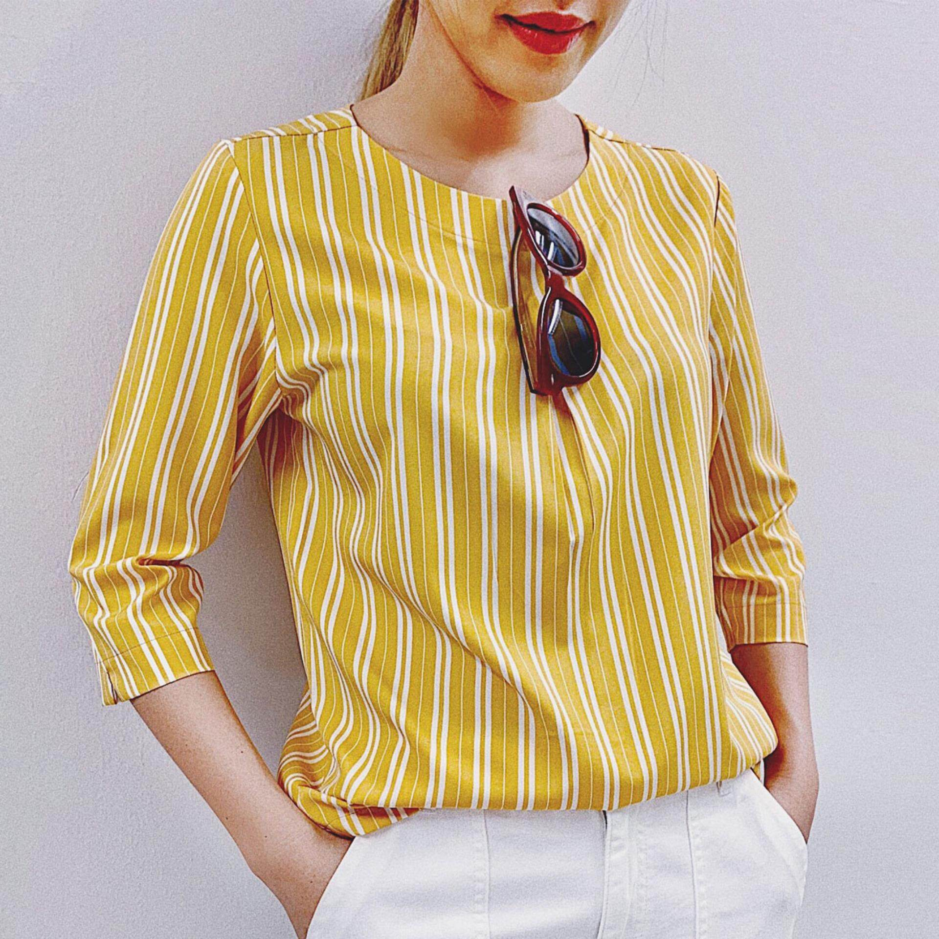 Portland Women เสื้อเบลาส์ แขนสามส่วน สีเหลือง
