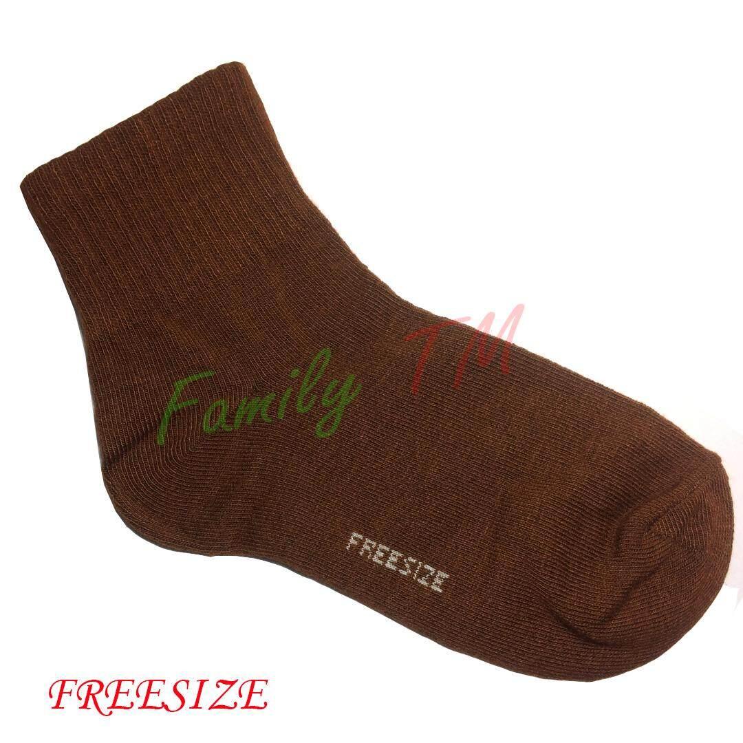 เก็บเงินปลายทางได้ Family TM จัดส่งโดย Kerry  ถุงเท้านักเรียน สีน้ำตาล ผ้าหนา ไซส์ set 1 คู่