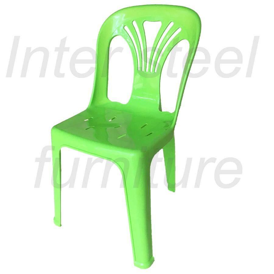 เช่าเก้าอี้ เชียงใหม่ Inter Steel เก้าอี้พลาสติก เกรดA มีพนักพิง รุ่นหลังW (สีเขียวสด) Grade A plastic chair