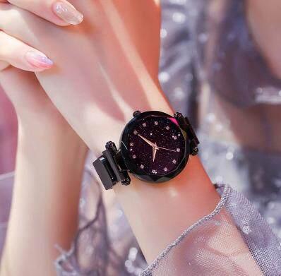 Riches.lzd นาฬิกาแฟชั่น นาฬิกาควอตซ์ผู้หญิง นาฬิกาแม่เหล็ก Women Starry Sky Watch Waterproof Magnet Strap Buckle พร้อมส่ง (มีเก็บเงินปลายทาง) R-133