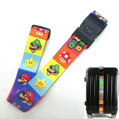 ขายดีมาก! ส่งฟรี kerry !!! ขาย Luggage Belt สายรัดกระเป๋าเดินทาง สายคาด สายล็อค มีรหัสล็อคบนสาย มาริโอ้ Mario สีรุ้ง