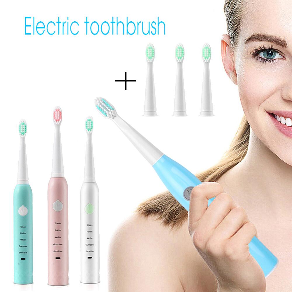 ลำพูน แปรงสีฟัน แปรงสีฟันไฟฟ้า ขนนุ่ม USB ชาร์จเครื่องสำหรับวัดระดับน้ำแปรงสีฟันไฟฟ้าความปลอดภัยกันน้ำสำหรับผู้ใหญ่ 3 ชิ้นเปลี่ยนหัวแปรง electric toothbrush Thams