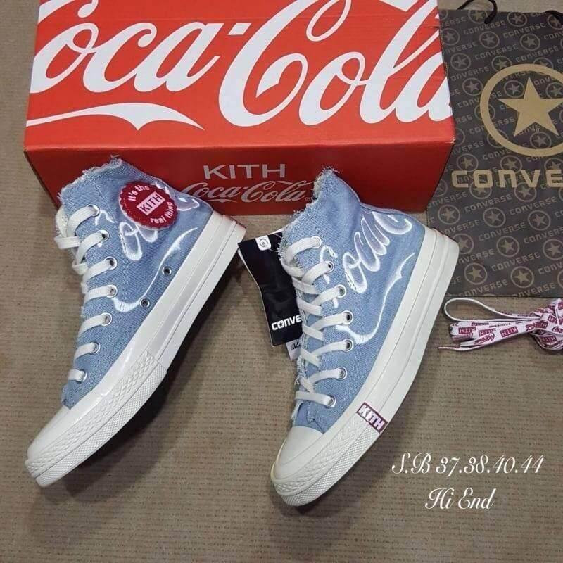 ยี่ห้อนี้ดีไหม  บุรีรัมย์ รองเท้าผ้าใบแฟชั่น รองเท้าผ้าใบผู้หญิงหุ้มข้อConverse all star coca cola