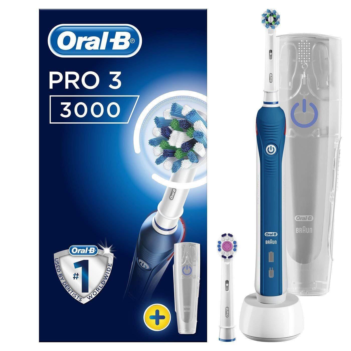 แปรงสีฟันไฟฟ้า ทำความสะอาดทุกซี่ฟันอย่างหมดจด เพชรบุรี Oral B Pro 3 3000 Cross Action Electric Rechargeable Toothbrush Powered by Braun