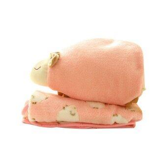 Getagift หมอนผ้าห่ม รูปแกะ - สีชมพู