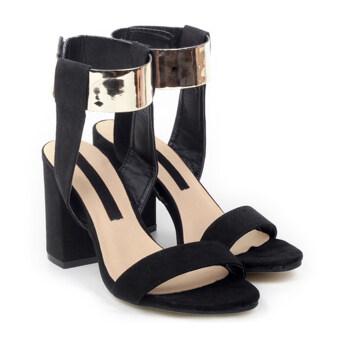 Golden Color Lace-up Thick Heel Sandals Women Shoesblack - Intl