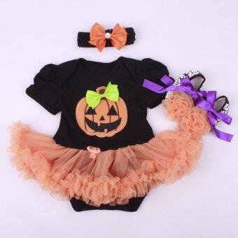 Halloween Baby Girl Pumpkin Romper Dress(Black + Orange + Pumpkin posts)