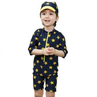 IIS ชุดว่ายน้ำสำหรับเด็กชาย พร้อมหมวกกันแดด Yellow Star (สีน้ำเงิน)