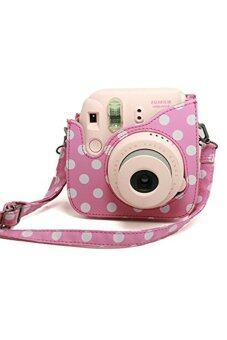 MULBA Pink and White Vintage Instax Carry Camera Case Bag with Shoulder Strap for Fujifilm Instax Mini 8 Camera Raspberry PU Leather