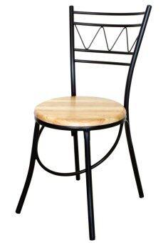 Inter Steel เก้าอี้เหล็ก มีพนักพิง รุ่น CH444 โครงสีดำ - เบาะไม้ยางพาราสีธรรมชาติ