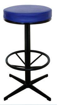 Inter Steel เก้าอี้บาร์เบาะหมุน รุ่น CT-14 - โครงดำ เบาะน้ำเงิน
