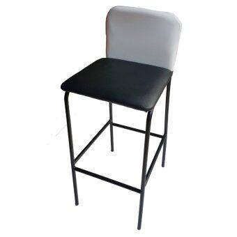 Inter Steel เก้าอี้บาร์สูง มีพนักพิง รุ่น CB-LH (โครงขาสีดำ/เบาะสีดำ/ขาว)
