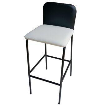 Inter Steel เก้าอี้บาร์สูง มีพนักพิง รุ่น CB-LH (โครงขาสีดำ/เบาะสีขาว/ดำ)