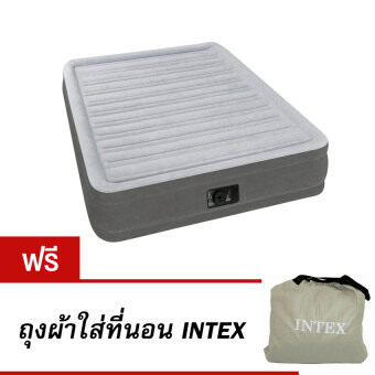 Intex 67768 Fiber-Tech Technology ที่นอนเป่าลมไฟฟ้าในตัวขนาด 4.5 ฟุต ฟรี ถุงผ้าใส่ที่นอนเป่าลม