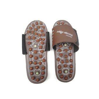 รองเท้านวด หินบำบัด นวด เพื่อสุขภาพ ปุ่มนวดสปริงแบบหมุนบิด-สีน้ำตาล