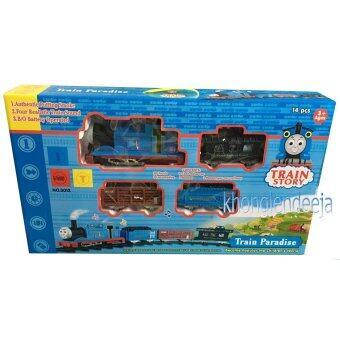 KhonglendeeTrain Story รถไฟโทมัส+ราง+ 3 โบกี้พ่วง มีไฟ มีเสียง และควันเหมือนจริง(no.3012)14 ชิ้นเป็นของเล่นที่เด็กชื่นชอบมากๆ