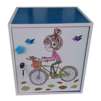KMP Furnifure ตู้เซฟวินเทจ ตู้เก็บของ ตู้ข้างเตียง ตู้อเนกประสงค์ รุ่น Safe Box1-2 (สีฟ้า/ขาว)