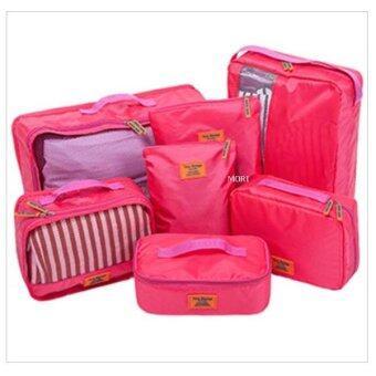 Mori กระเป๋าจัดระเบียบเสื้อผ้าสำหรับเดินทาง กระเป๋าจัดระเบียบ เซ็ท 7 ใบ Bag Organizer Set 7 pcs (Pink / สีชมพู)