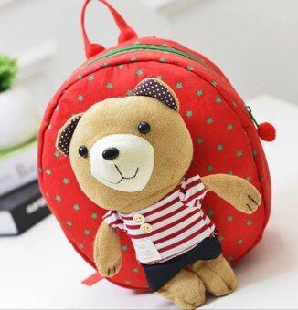 กระเป๋าเป้จูงเด็ก กระเป๋าเด็ก สายจูงเด็ก เป้จูง กระเป๋าเป้เด็ก ลายหมี สีแดง