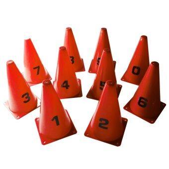 กรวย หลัก 20 ซม. ติด ตัวเลข 0-9 (สีแดง) / Cone with Numbers 0-9