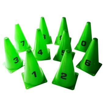 กรวย หลัก 20 ซม. ติด ตัวเลข 0-9 (สีเขียว) / Cone with numbers 0-9