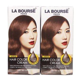 La Bourse Hair Color Cream ครีมเปลี่ยนสีผม ลาบูสส์ ปารีส No 5.46 สีน้ำตาลประกายแดงอ่อนเหลือบม่วง (แพ็คคู่ราคาสุดคุ้ม!)