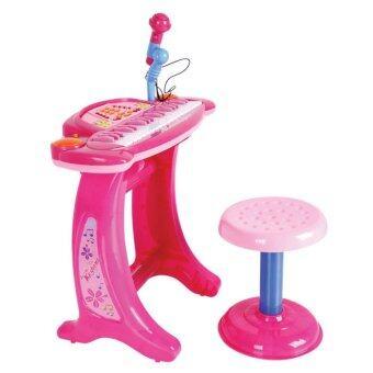 Lansawan อิเล็คโทนพร้อมไมค์โครโฟน+เก้าอี้นั่ง ( สีชมพู )