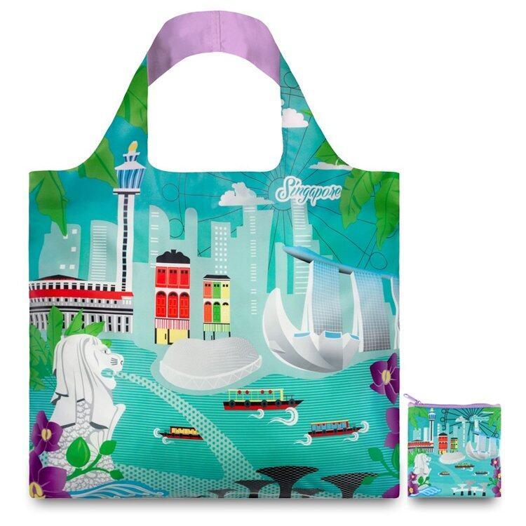 กระเป๋าเป้ นักเรียน ผู้หญิง วัยรุ่น สตูล กระเป๋าผ้าLOQI รุ่นเออร์เบินสิงคโปร์ ใบใหญ่1ใบ+ใบเล็ก 1 ใบของแท้100% Shopping Bags Urban Singapore