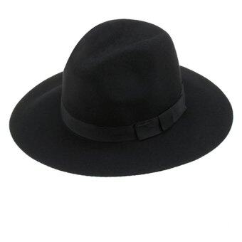 LUMINOUS MADISON Midnight fedora hat หมวกผ้าวูลทรงฟีโดร่า (สีดำ)