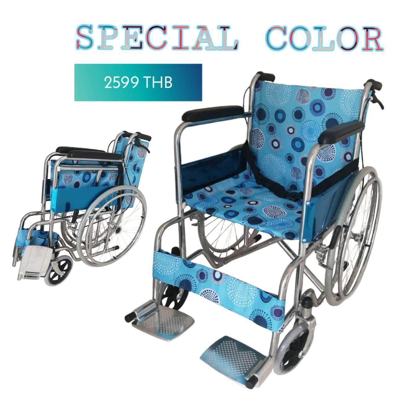 เก็บเงินปลายทางได้ Abloom Standard Wheelchair รถเข็น ผู้ป่วย เหล็กชุบ พับได้ รุ่นมาตรฐาน พร้อมเบรคมือ