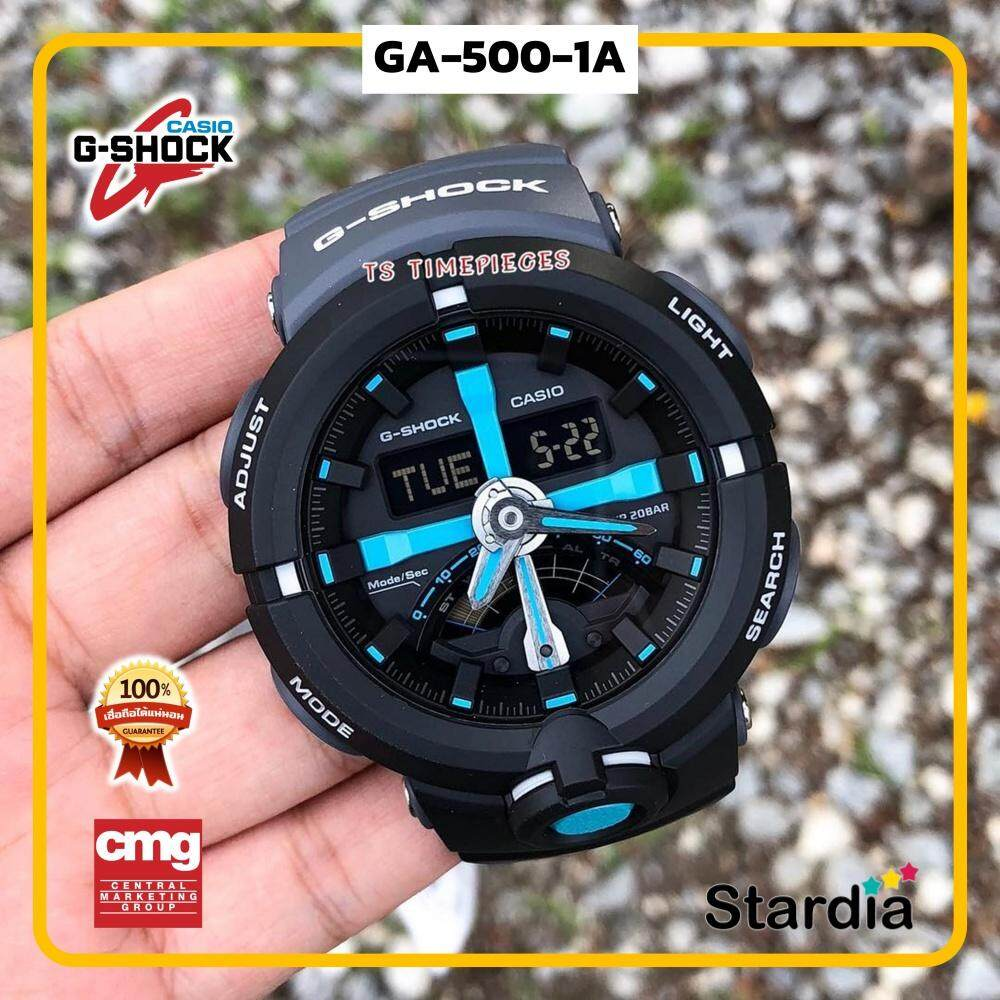 นาฬิกาข้อมือ นาฬิกา Casio นาฬิกา Gshock รุ่น GA-500P-1A นาฬิกาผู้ชาย นาฬิกาผู้หญิง กันน้ำ - ของแท้ พร้อมกล่อง คู่มือ ใบรับประกัน CMG จัดส่ง kerry ทุกวัน มีประกัน 1 ปี สี ดำ ฟ้า