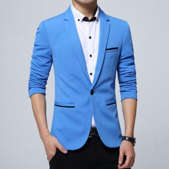Men slim fit fashion cotton blazer Suit Jacket black blue khaki plus size M to 5XL Male blazers coat(Light Blue)