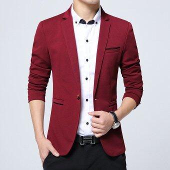 Men slim fit fashion cotton blazer Suit Jacket black blue khaki plus size M to 5XL Male blazers coat(Red)
