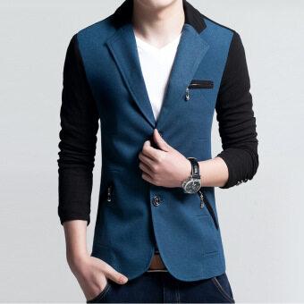 Men slim fit fashion cotton blazer Suit Jacket Blue