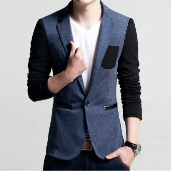 Men slim fit fashion cotton blazer Suit Jacket Male blazers Mens coat Wedding dress(Blue)