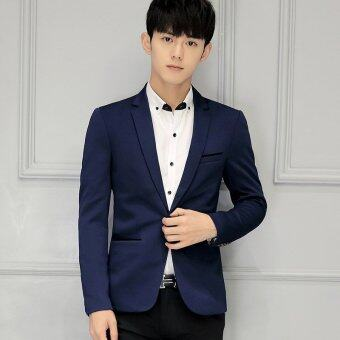 Men slim fit Plus Size Fashion Blazer Suit Casual Jacket Male Formal Business Blazers Coat(Dark Blue)