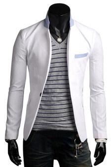 Mens Fashion Blazer Slim Fit Suit Casual One Button Suit Jacket Coat (White)
